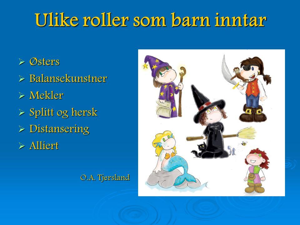 Ulike roller som barn inntar  Østers  Balansekunstner  Mekler  Splitt og hersk  Distansering  Alliert O.A.