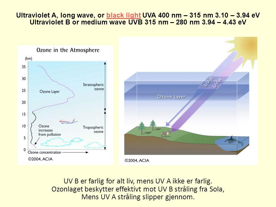 Ultraviolet A, long wave, or black light UVA 400 nm – 315 nm 3.10 – 3.94 eVblack light Ultraviolet B or medium wave UVB 315 nm – 280 nm 3.94 – 4.43 eV