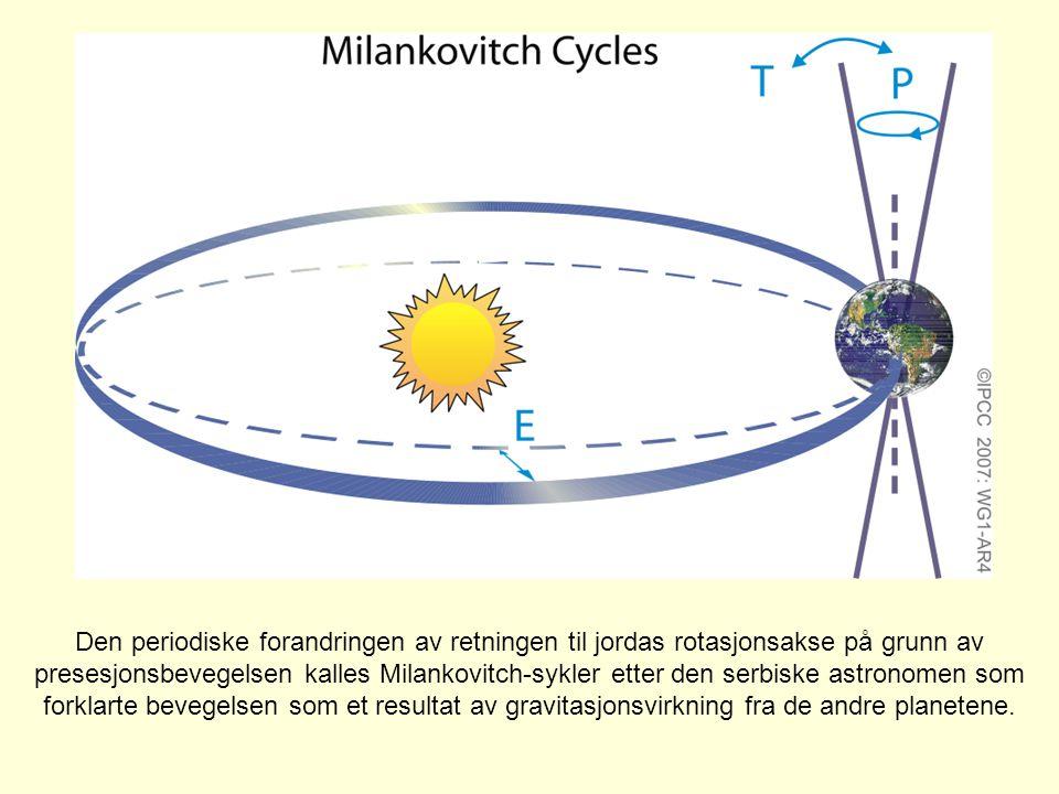 Den periodiske forandringen av retningen til jordas rotasjonsakse på grunn av presesjonsbevegelsen kalles Milankovitch-sykler etter den serbiske astro