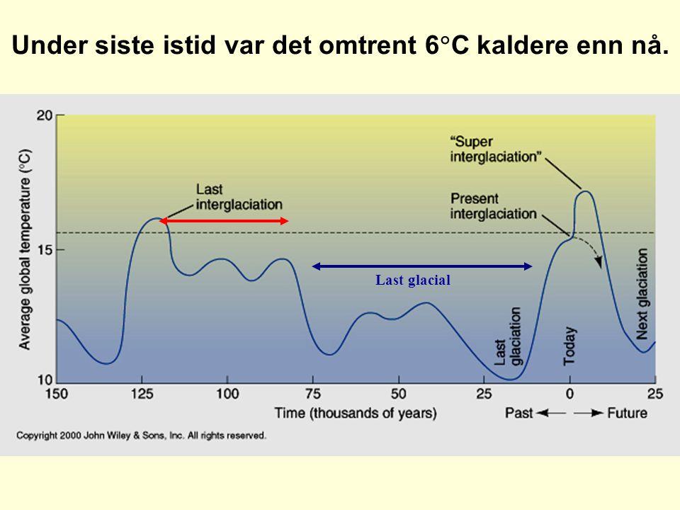 Under siste istid var det omtrent 6  C kaldere enn nå. Last glacial