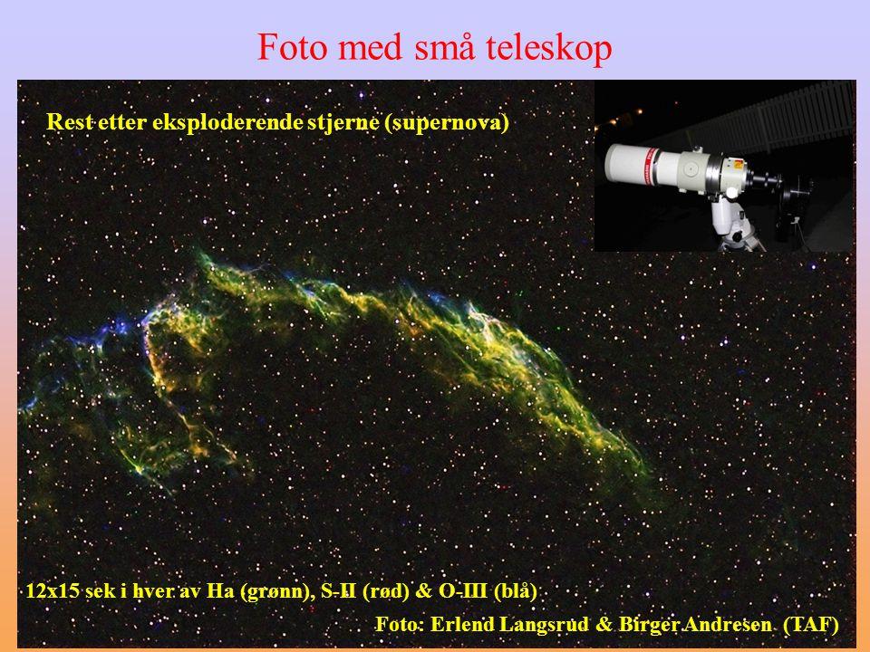 Rest etter eksploderende stjerne (supernova) Foto: Erlend Langsrud & Birger Andresen (TAF) 12x15 sek i hver av Ha (grønn), S-II (rød) & O-III (blå) Foto med små teleskop