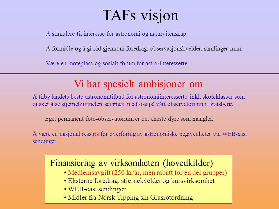 TAFs visjon Finansiering av virksomheten (hovedkilder) Medlemsavgift (250 kr/år, men rabatt for en del grupper) Eksterne foredrag, stjernekvelder og k