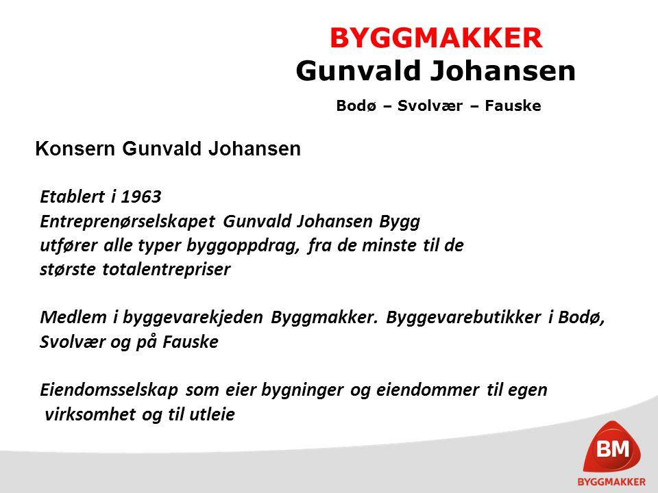 BYGGMAKKER Gunvald Johansen Bodø – Svolvær – Fauske GJ Bygg Byggmakker Bodø 310' Byggmakker Fauske Ansatte Omsetning Byggmakker Svolvær 10 Total inkl.