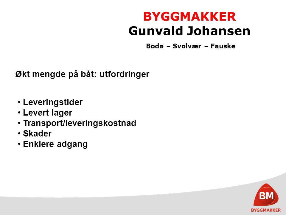 BYGGMAKKER Gunvald Johansen Bodø – Svolvær – Fauske Økt mengde på båt: utfordringer Leveringstider Levert lager Transport/leveringskostnad Skader Enkl