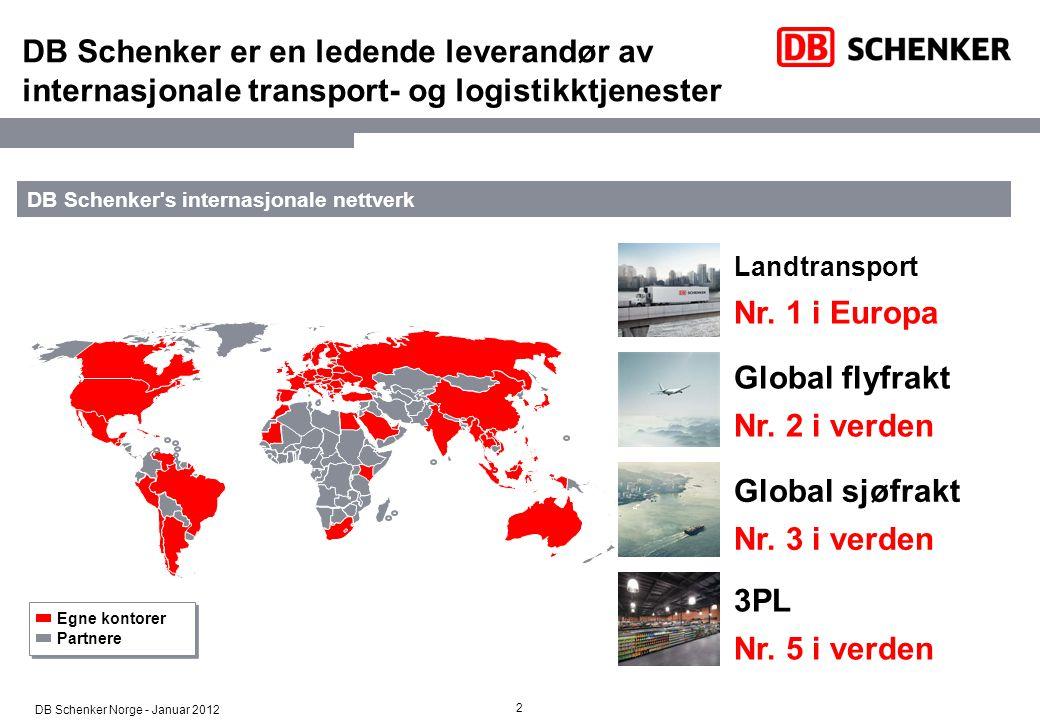 2 DB Schenker er en ledende leverandør av internasjonale transport- og logistikktjenester DB Schenker's internasjonale nettverk Landtransport Nr. 1 i