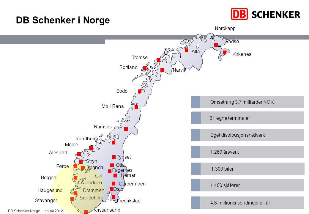 DB Schenker – Vårt syn på miljøarbeid Vår ambisjon Å benytte alle de for DB Schenker tilgjengelige midler for å bli den mest miljøvennlige logistikkleverandøren i verden.