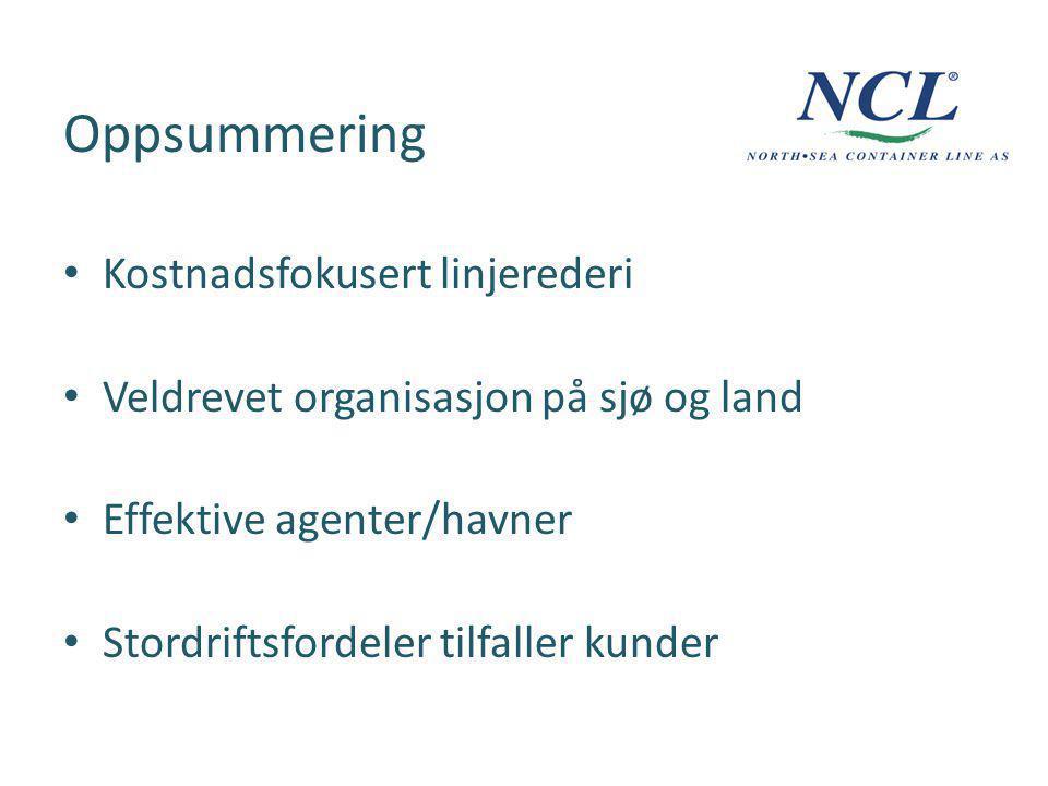 Oppsummering Kostnadsfokusert linjerederi Veldrevet organisasjon på sjø og land Effektive agenter/havner Stordriftsfordeler tilfaller kunder