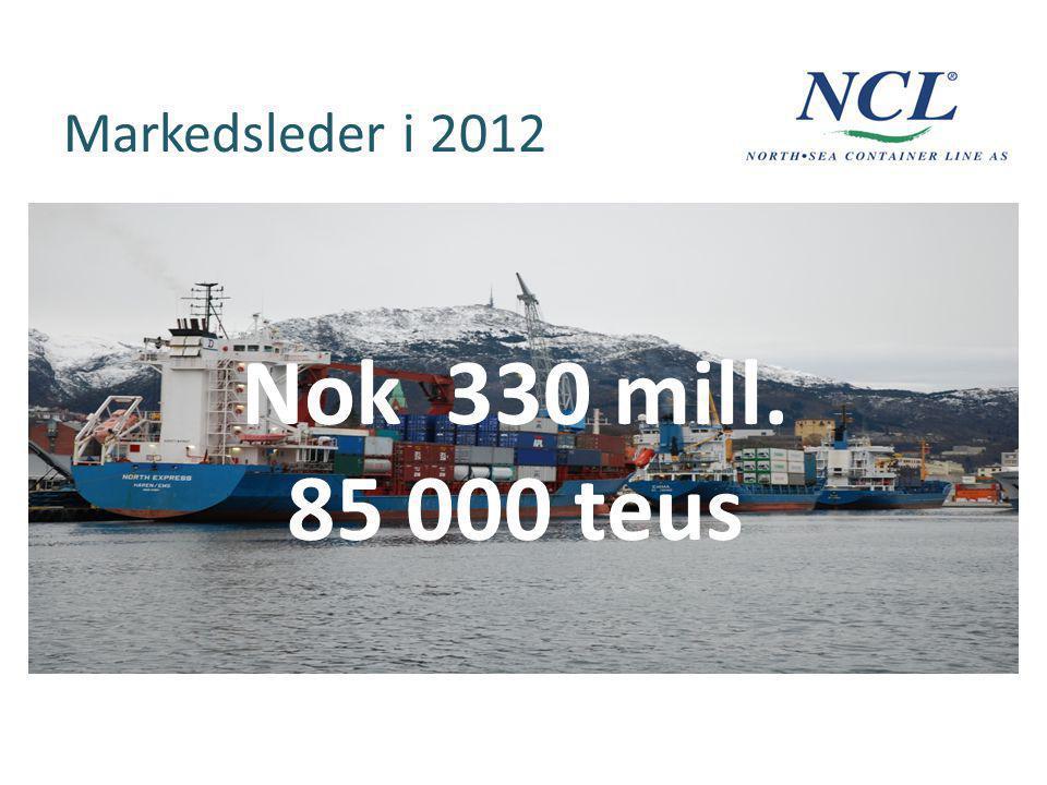Markedsleder i 2012 Nok 330 mill. 85 000 teus