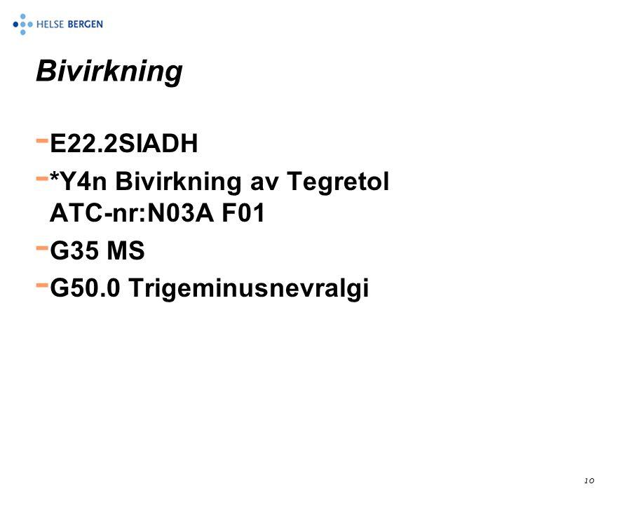 10 Bivirkning - E22.2SIADH - *Y4n Bivirkning av Tegretol ATC-nr:N03A F01 - G35 MS - G50.0 Trigeminusnevralgi