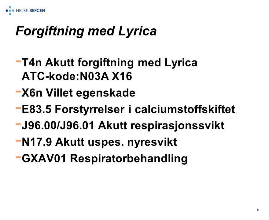 8 Forgiftning med Lyrica - T4n Akutt forgiftning med Lyrica ATC-kode:N03A X16 - X6n Villet egenskade - E83.5 Forstyrrelser i calciumstoffskiftet - J96.00/J96.01 Akutt respirasjonssvikt - N17.9 Akutt uspes.
