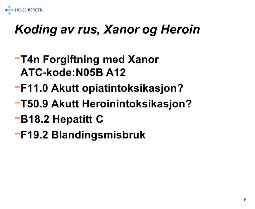 9 Koding av rus, Xanor og Heroin - T4n Forgiftning med Xanor ATC-kode:N05B A12 - F11.0 Akutt opiatintoksikasjon? - T50.9 Akutt Heroinintoksikasjon? -