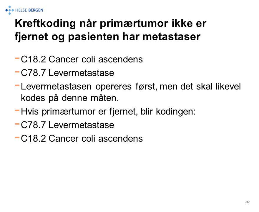 Kreftkoding når primærtumor ikke er fjernet og pasienten har metastaser - C18.2 Cancer coli ascendens - C78.7 Levermetastase - Levermetastasen operere
