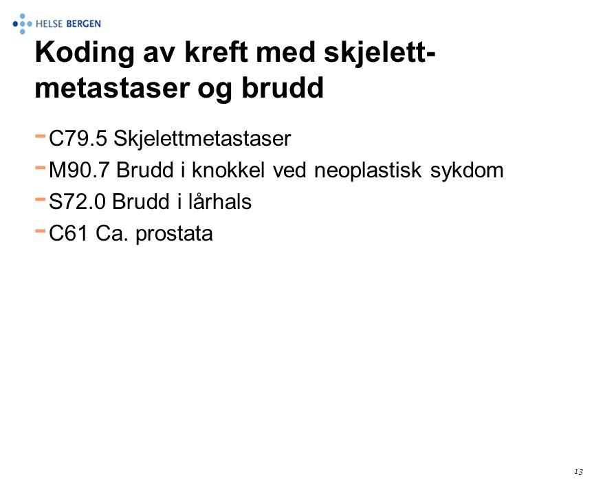 Koding av kreft med skjelett- metastaser og brudd - C79.5 Skjelettmetastaser - M90.7 Brudd i knokkel ved neoplastisk sykdom - S72.0 Brudd i lårhals -