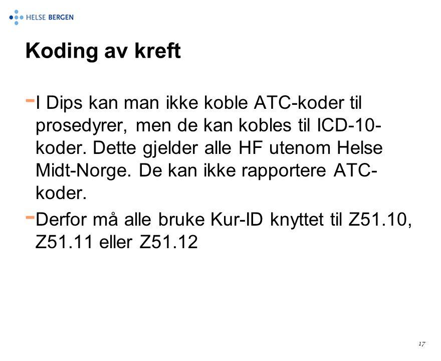 Koding av kreft - I Dips kan man ikke koble ATC-koder til prosedyrer, men de kan kobles til ICD-10- koder. Dette gjelder alle HF utenom Helse Midt-Nor