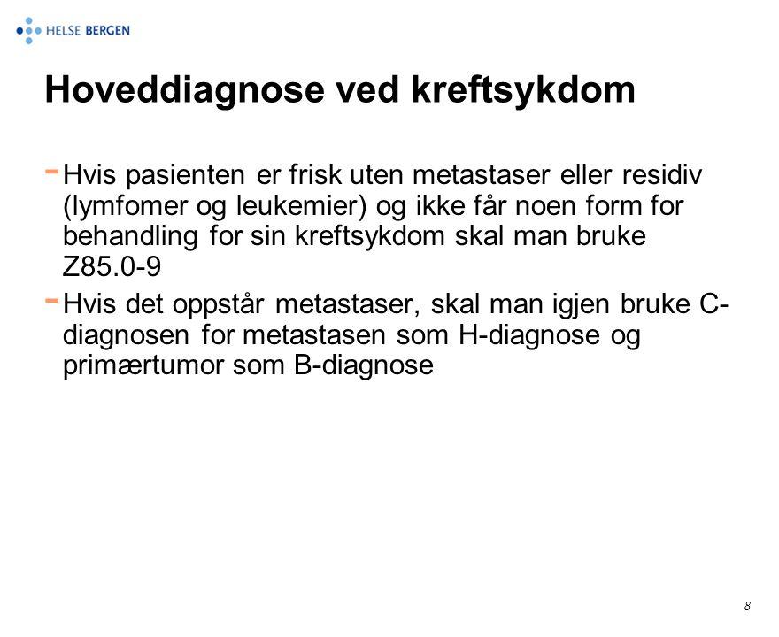 Kreftkoding når man ikke finner primærtumor - Man påviser en metastase fra et malignt melanom, men finner ikke primærtumor - C80.0 Malignt melanom med ukjent primær lokalisasjon - C79.3 Metastase i hjerne fra malignt melanom - Slik skal det kodes også hvis man opererer og fjerner metastasen i hjernen.