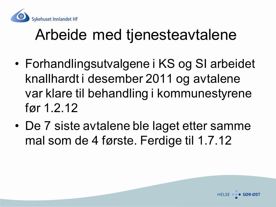 Evaluering Avtalene skulle evalueres og reforhandles innen 1.2.13 Den tjenesteavtalen som var mest krevende, var utskrivningsklare pasienter Rutinene ble vedtatt 18.12.11.