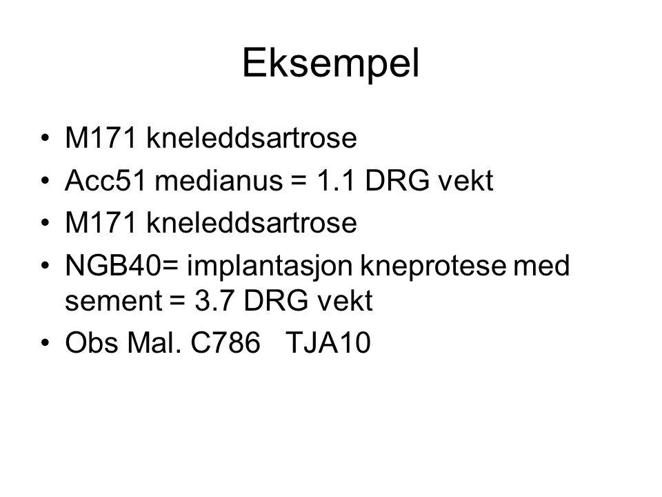 Eksempel M171 kneleddsartrose Acc51 medianus = 1.1 DRG vekt M171 kneleddsartrose NGB40= implantasjon kneprotese med sement = 3.7 DRG vekt Obs Mal. C78