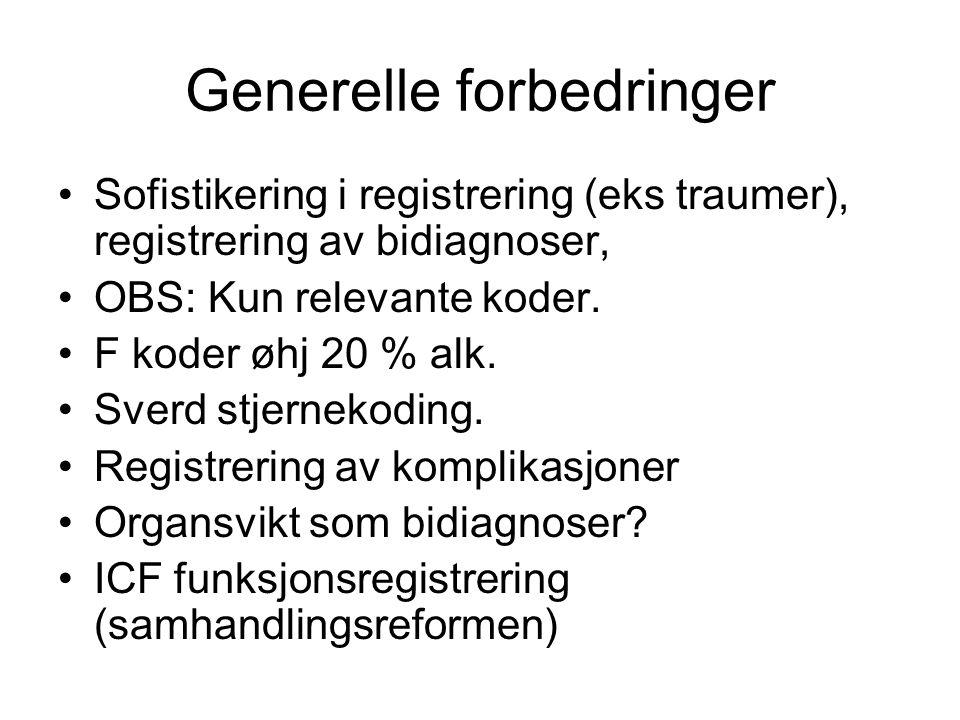 Generelle forbedringer Sofistikering i registrering (eks traumer), registrering av bidiagnoser, OBS: Kun relevante koder. F koder øhj 20 % alk. Sverd