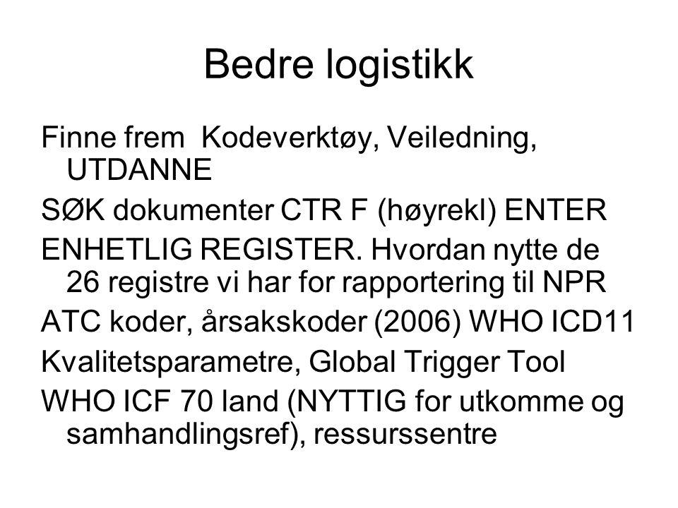 Bedre logistikk Finne frem Kodeverktøy, Veiledning, UTDANNE SØK dokumenter CTR F (høyrekl) ENTER ENHETLIG REGISTER. Hvordan nytte de 26 registre vi ha