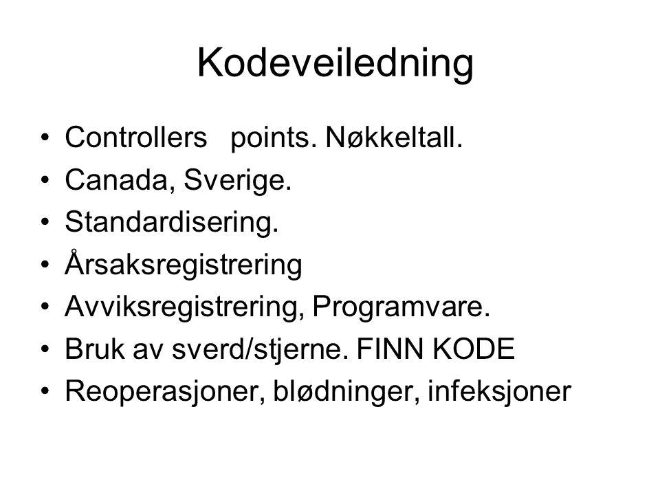 Kodeveiledning Controllers points. Nøkkeltall. Canada, Sverige. Standardisering. Årsaksregistrering Avviksregistrering, Programvare. Bruk av sverd/stj