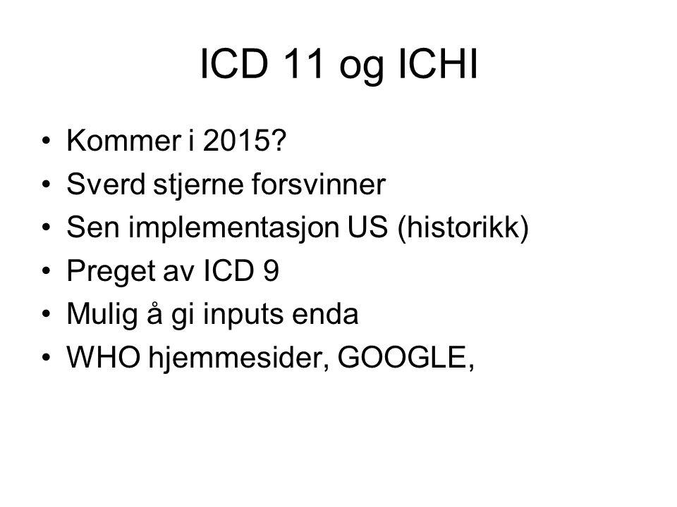 ICD 11 og ICHI Kommer i 2015? Sverd stjerne forsvinner Sen implementasjon US (historikk) Preget av ICD 9 Mulig å gi inputs enda WHO hjemmesider, GOOGL