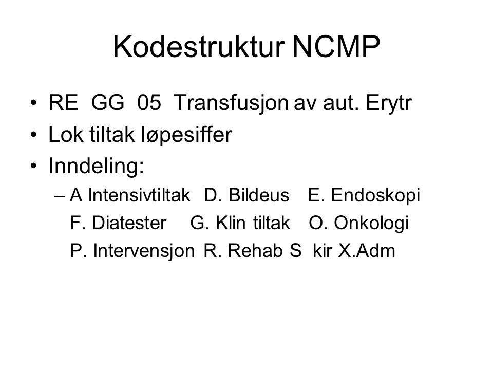Kodestruktur NCMP RE GG 05 Transfusjon av aut. Erytr Lok tiltak løpesiffer Inndeling: –A Intensivtiltak D. Bildeus E. Endoskopi F. Diatester G. Klin t