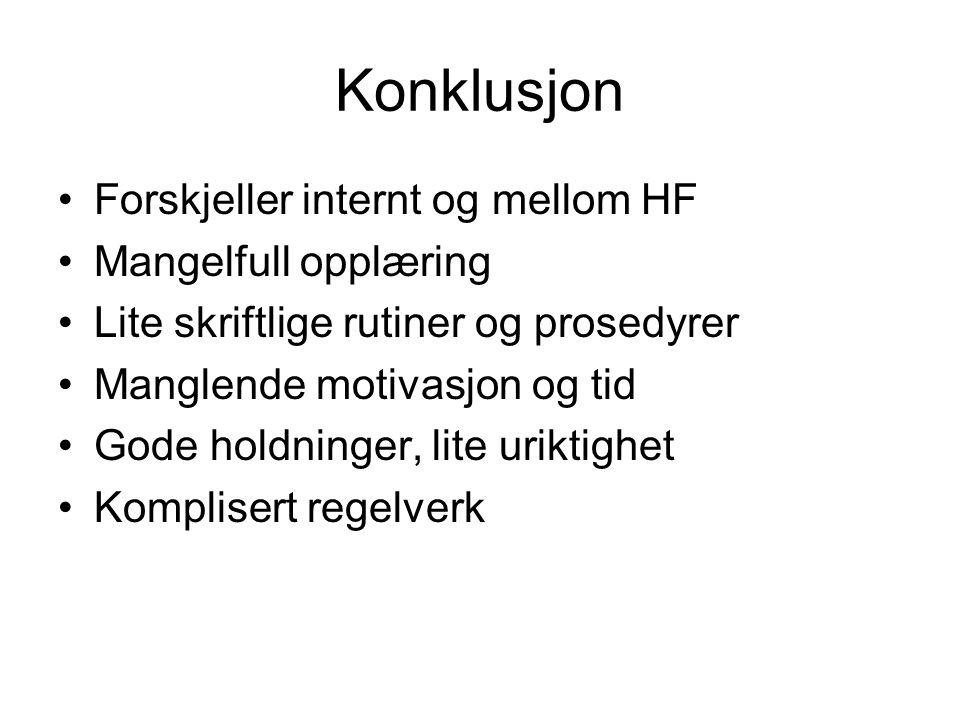 Konklusjon Forskjeller internt og mellom HF Mangelfull opplæring Lite skriftlige rutiner og prosedyrer Manglende motivasjon og tid Gode holdninger, li