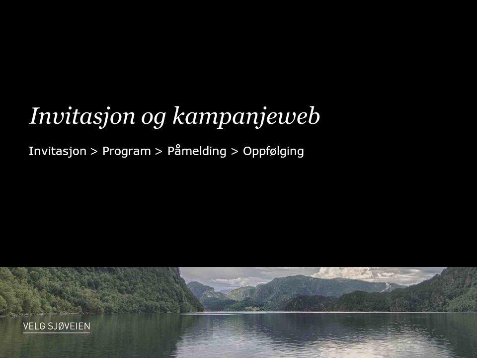 Invitasjon og kampanjeweb Invitasjon > Program > Påmelding > Oppfølging