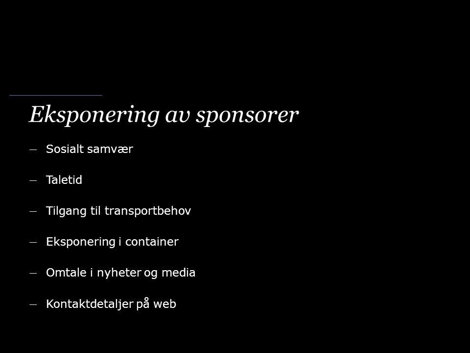 Eksponering av sponsorer ― Sosialt samvær ― Taletid ― Tilgang til transportbehov ― Eksponering i container ― Omtale i nyheter og media ― Kontaktdetaljer på web