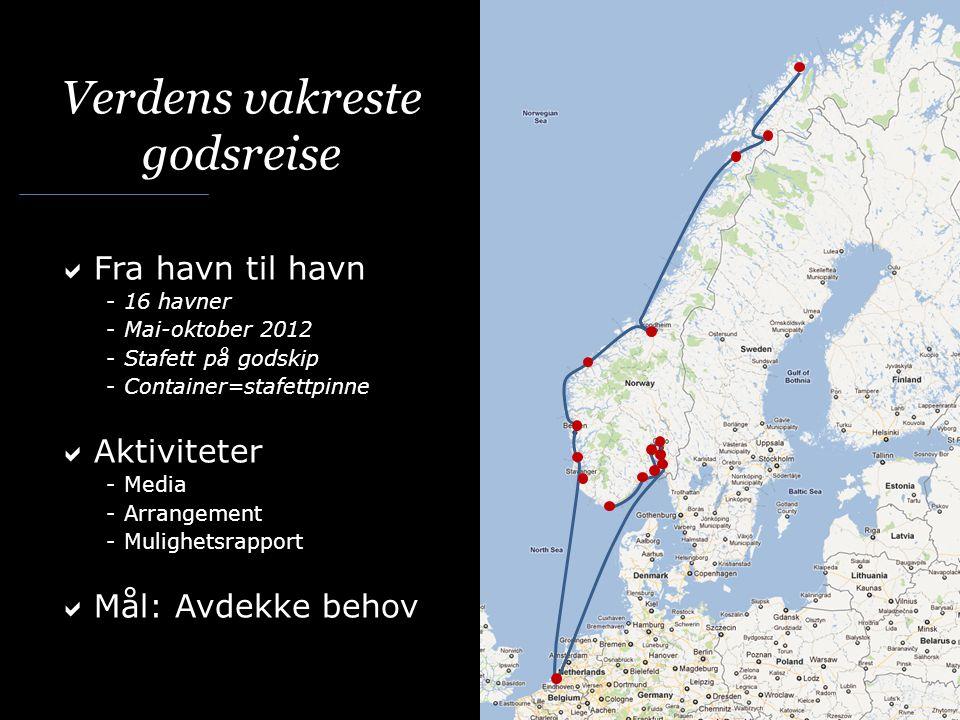 20-100 gjester i hver havn Gjester = Transportkjøpere = Vareeiere og speditører