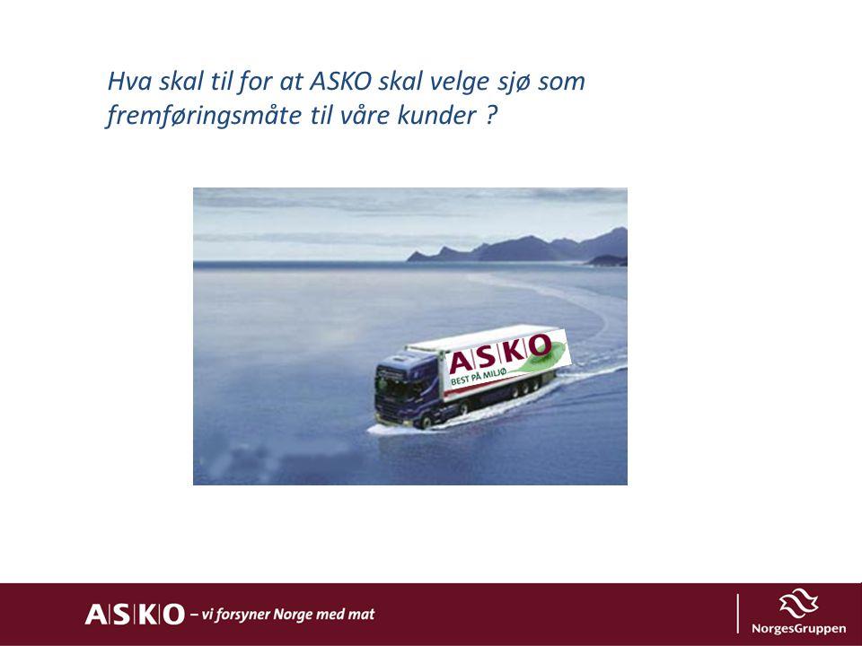Hva skal til for at ASKO skal velge sjø som fremføringsmåte til våre kunder ?