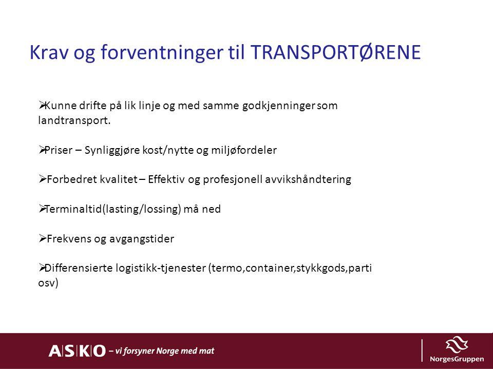 Krav og forventninger til TRANSPORTØRENE  Kunne drifte på lik linje og med samme godkjenninger som landtransport.  Priser – Synliggjøre kost/nytte o