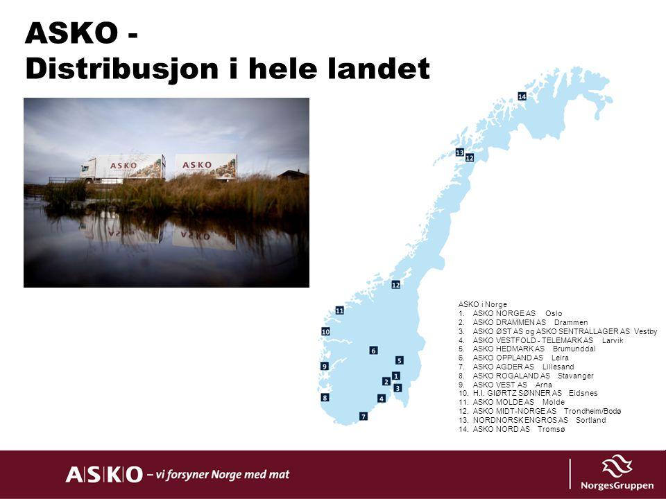9% 13% 1% ASKO i Norge 1.ASKO NORGE AS Oslo 2.ASKO DRAMMEN AS Drammen 3.ASKO ØST AS og ASKO SENTRALLAGER AS Vestby 4.ASKO VESTFOLD - TELEMARK AS Larvi