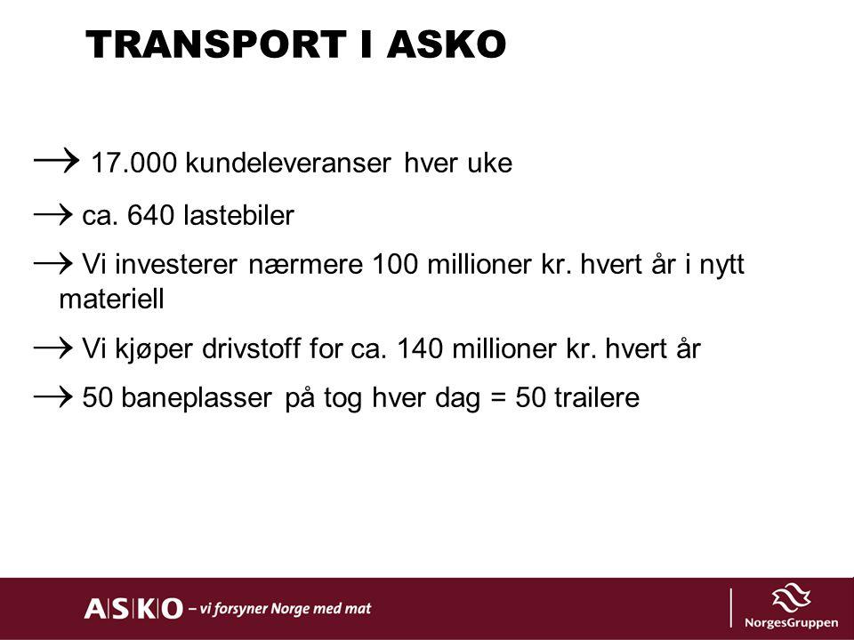 TRANSPORT I ASKO  17.000 kundeleveranser hver uke  ca. 640 lastebiler  Vi investerer nærmere 100 millioner kr. hvert år i nytt materiell  Vi kjøpe