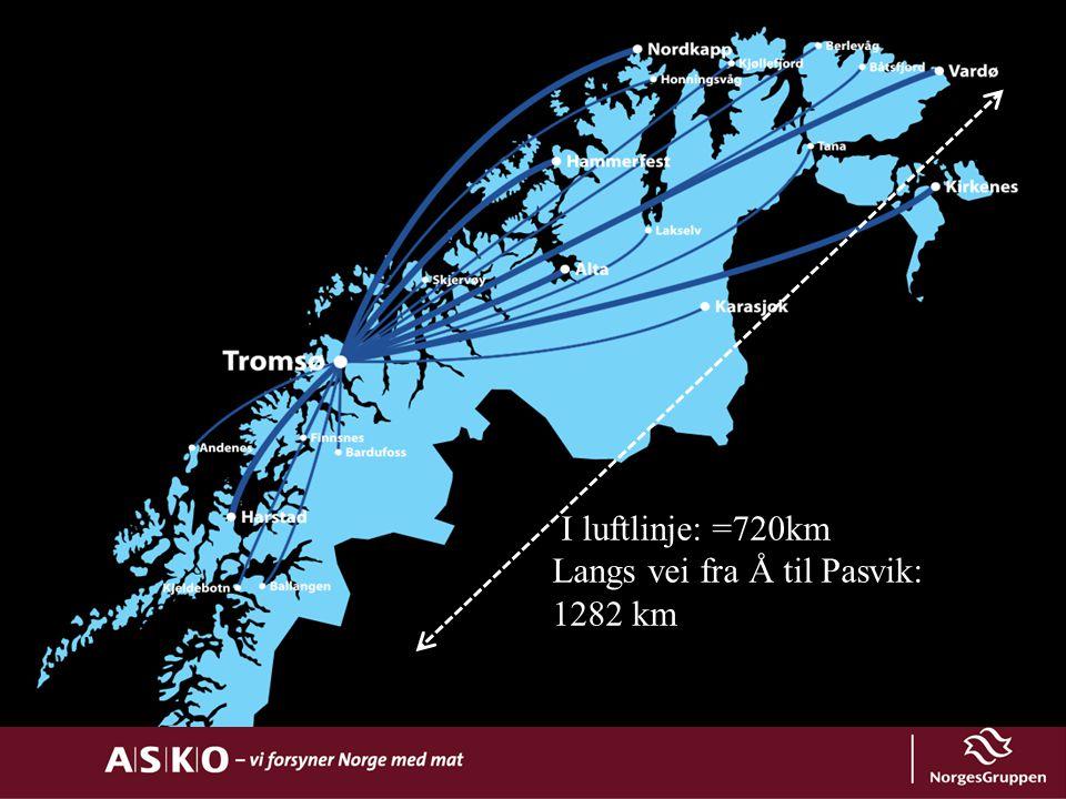 VÅRT DAGLIGE LEVERINGSOMRÅDE I luftlinje: =720km Langs vei fra Å til Pasvik: 1282 km