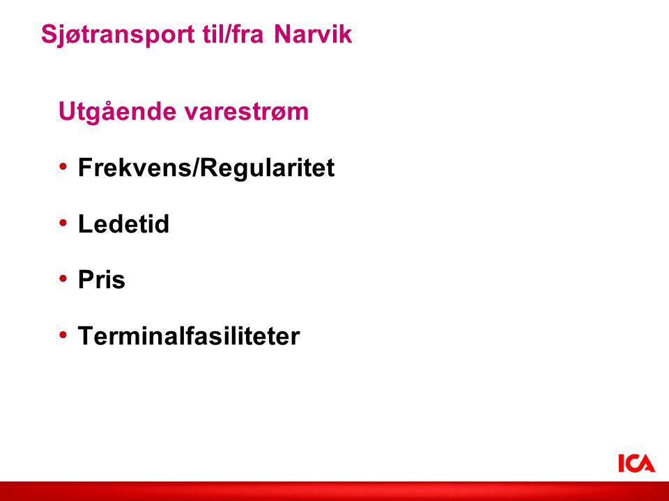 Utgående varestrøm Frekvens/Regularitet Ledetid Pris Terminalfasiliteter Sjøtransport til/fra Narvik