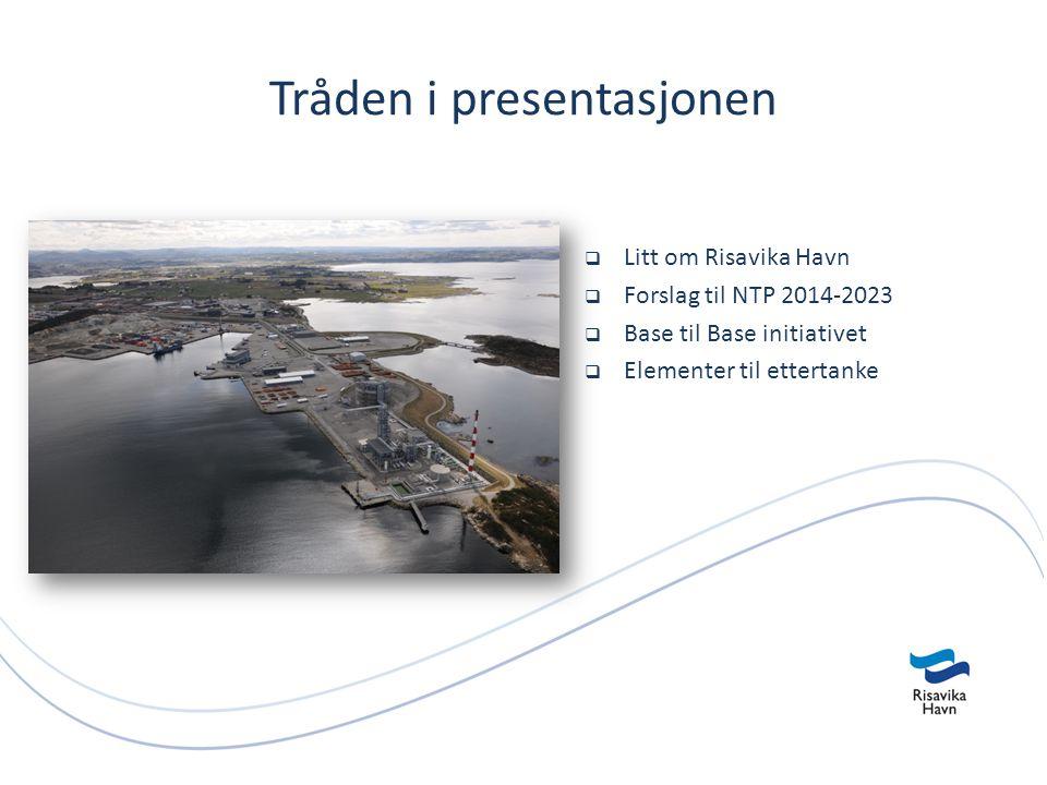 Tråden i presentasjonen  Litt om Risavika Havn  Forslag til NTP 2014-2023  Base til Base initiativet  Elementer til ettertanke