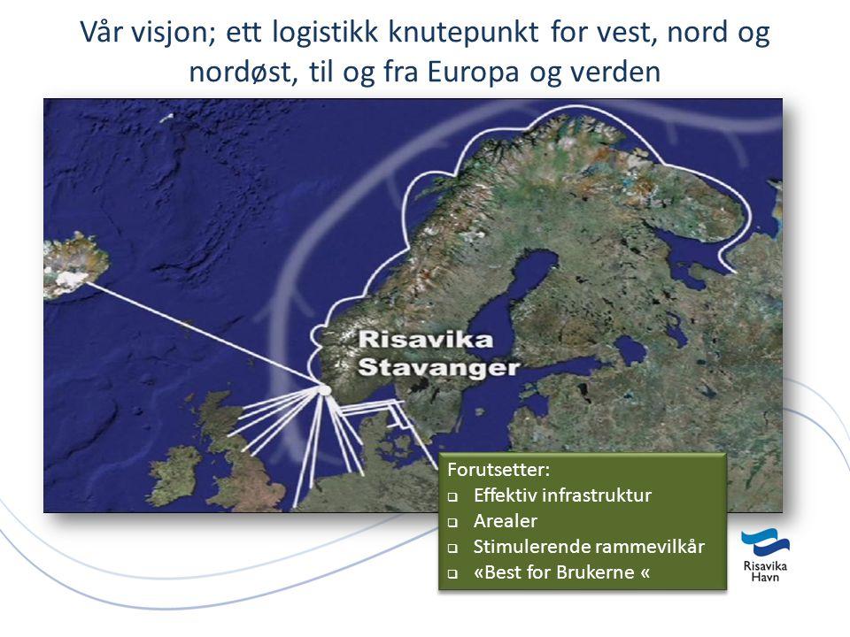 Vår visjon; ett logistikk knutepunkt for vest, nord og nordøst, til og fra Europa og verden Forutsetter:  Effektiv infrastruktur  Arealer  Stimulerende rammevilkår  «Best for Brukerne « Forutsetter:  Effektiv infrastruktur  Arealer  Stimulerende rammevilkår  «Best for Brukerne «