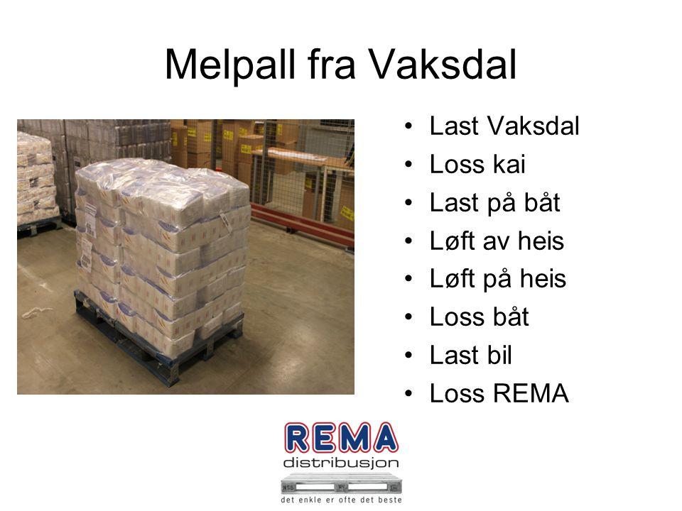 Melpall fra Vaksdal Last Vaksdal Loss kai Last på båt Løft av heis Løft på heis Loss båt Last bil Loss REMA