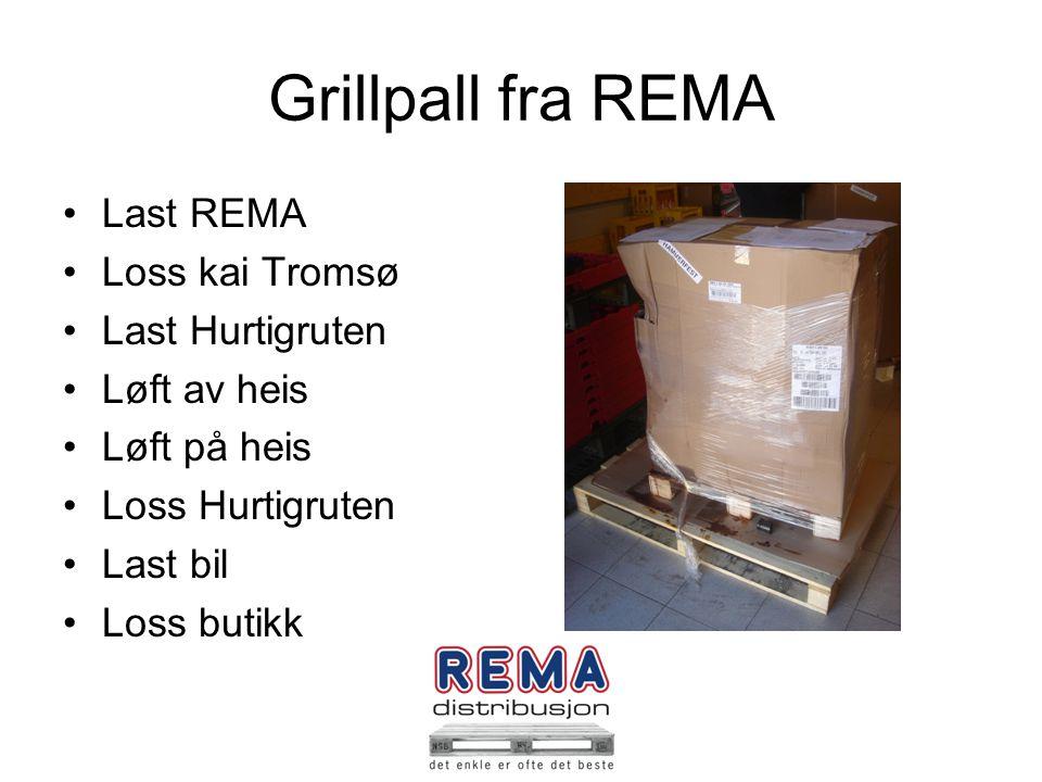 Grillpall fra REMA Last REMA Loss kai Tromsø Last Hurtigruten Løft av heis Løft på heis Loss Hurtigruten Last bil Loss butikk