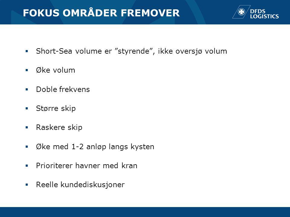 """FOKUS OMRÅDER FREMOVER  Short-Sea volume er """"styrende"""", ikke oversjø volum  Øke volum  Doble frekvens  Større skip  Raskere skip  Øke med 1-2 an"""