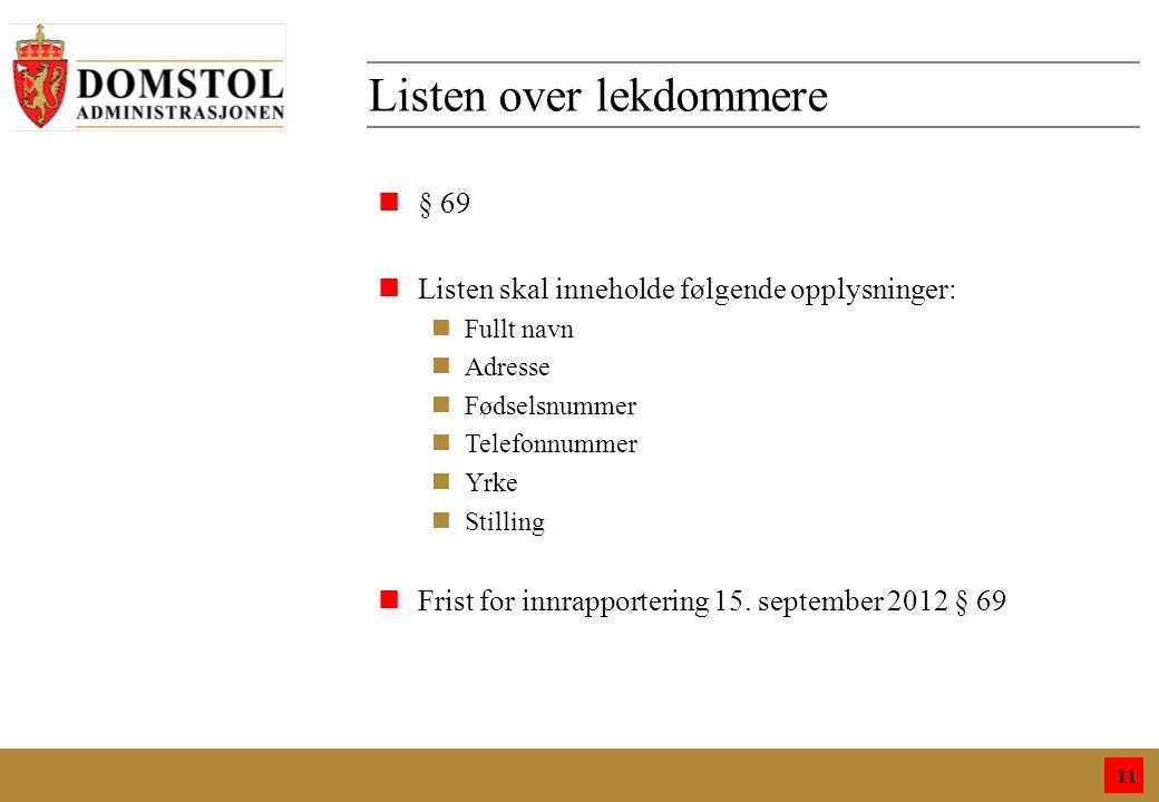 9 Listen over lekdommere 11 n§ 69 nListen skal inneholde følgende opplysninger: nFullt navn nAdresse nFødselsnummer nTelefonnummer nYrke nStilling nFrist for innrapportering 15.