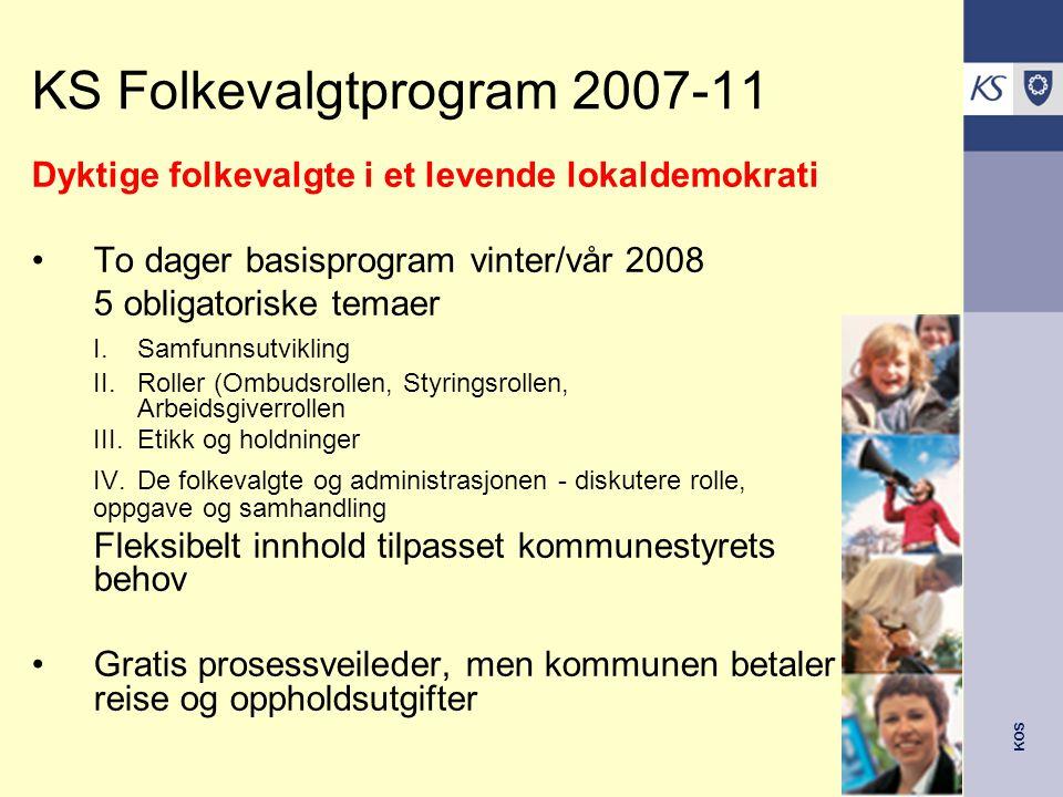 KOS Hvilket behov vil du si det er for felles opplæring/kursing av folkevalgte i kommunen din i andre til fjerde år av denne valgperioden.