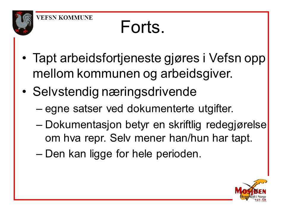 VEFSN KOMMUNE Tapt arbeidsfortjeneste gjøres i Vefsn opp mellom kommunen og arbeidsgiver.