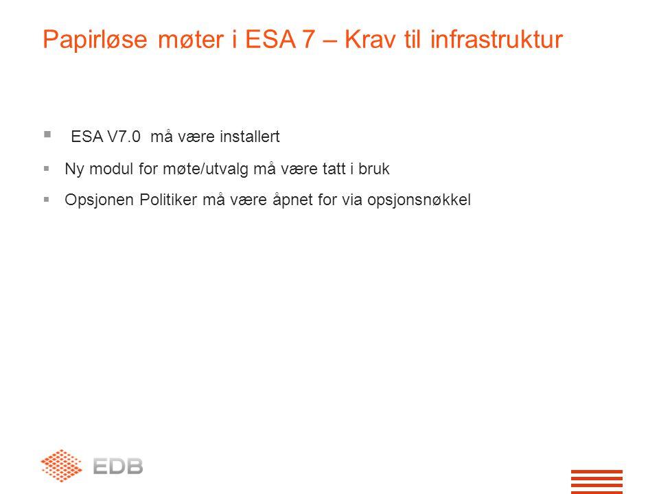  ESA V7.0 må være installert  Ny modul for møte/utvalg må være tatt i bruk  Opsjonen Politiker må være åpnet for via opsjonsnøkkel Papirløse møter