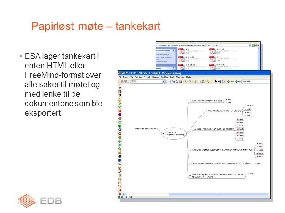 ESA Papirløst møte  Mottaker nå en grafisk oversikt over sakskartet for møtet, og kan enkelt åpne aktuelle saksdokumenter ved å klikke på nodene i tankekartet / HTML-siden.