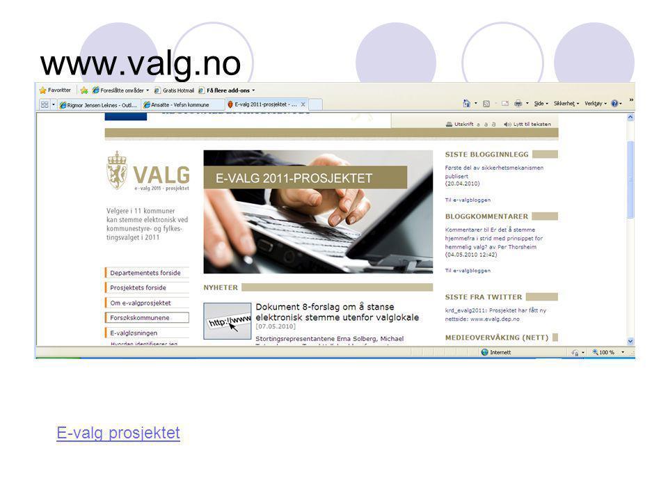 www.valg.no E-valg prosjektet
