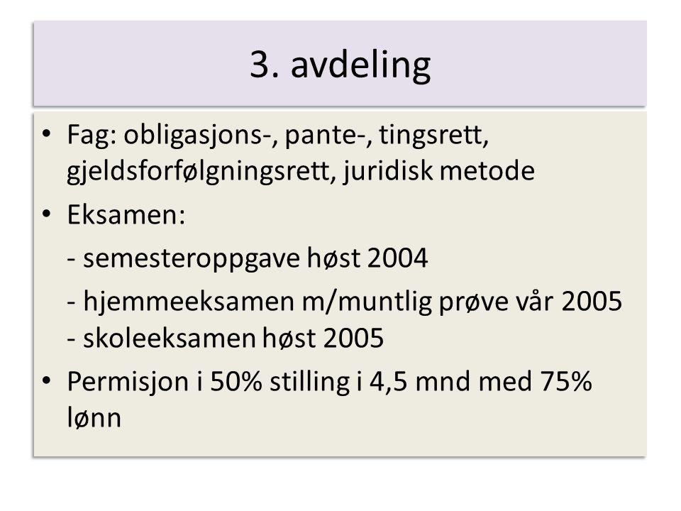 3. avdeling Fag: obligasjons-, pante-, tingsrett, gjeldsforfølgningsrett, juridisk metode Eksamen: - semesteroppgave høst 2004 - hjemmeeksamen m/muntl