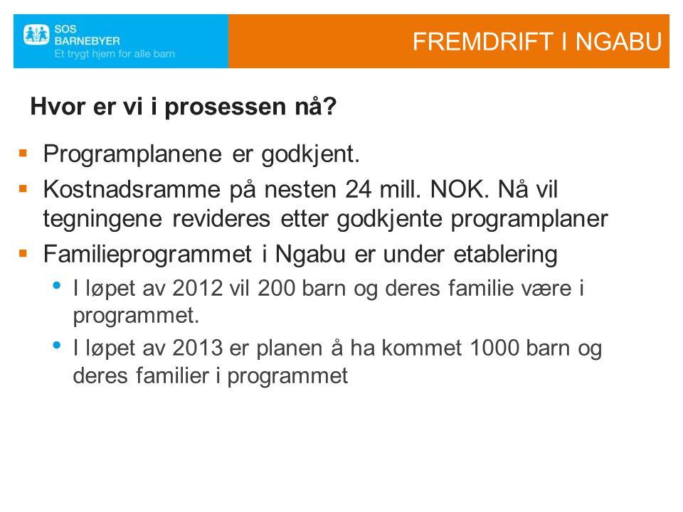 FREMDRIFT I NGABU  Programplanene er godkjent.  Kostnadsramme på nesten 24 mill. NOK. Nå vil tegningene revideres etter godkjente programplaner  Fa