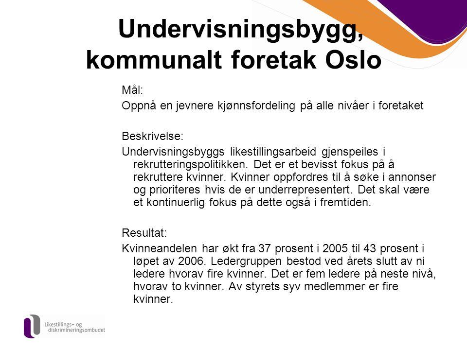 Undervisningsbygg, kommunalt foretak Oslo Mål: Oppnå en jevnere kjønnsfordeling på alle nivåer i foretaket Beskrivelse: Undervisningsbyggs likestillin